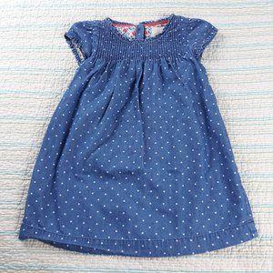 Boden 2-3y Blue Chambray White Polka Dot Dress